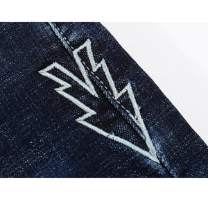 Skinny Ripped Embroidered Arrow Tapered Jeans - Dark Blue