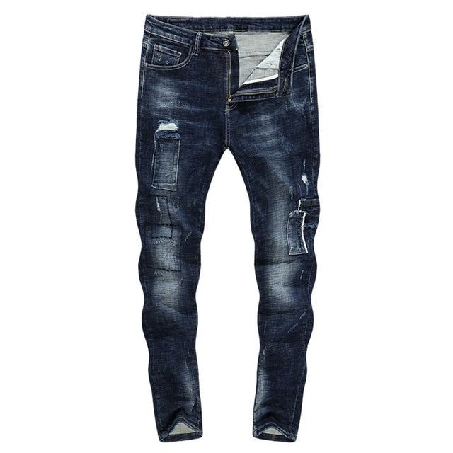 Distressed Ripped Patchwork Skinny Tapered Jeans - Blue