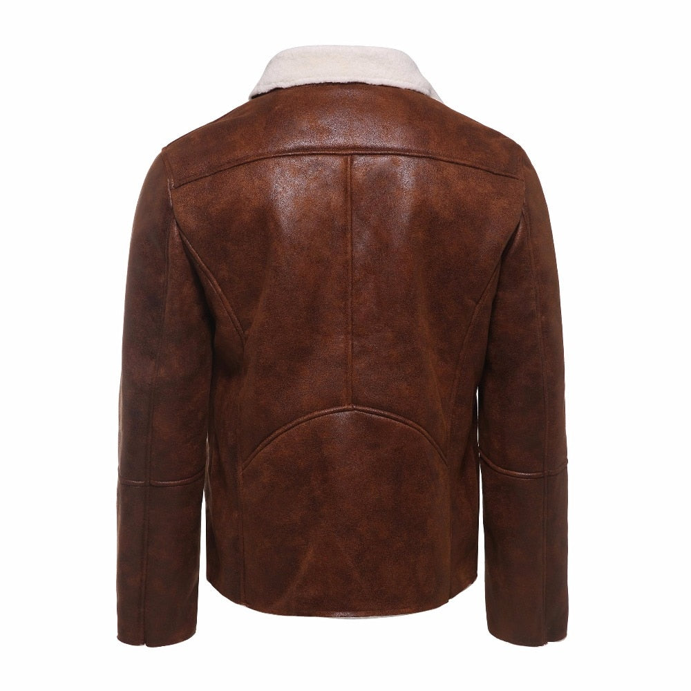 Luxury Fur Lined Suede Leather Jacket