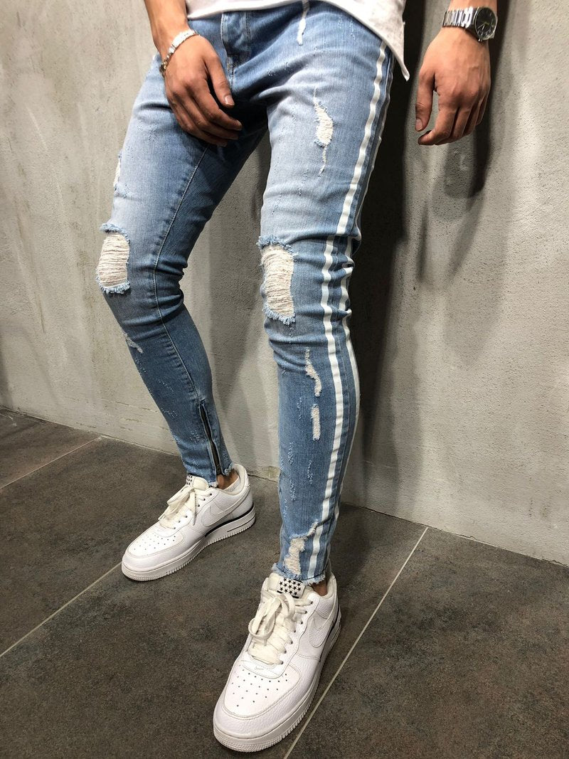 Light Blue Ripped Skinny Side Stripe & Ankle Zipper Jeans