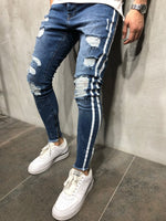 Dark Blue Ripped Skinny Side Stripe & Ankle Zipper Jeans