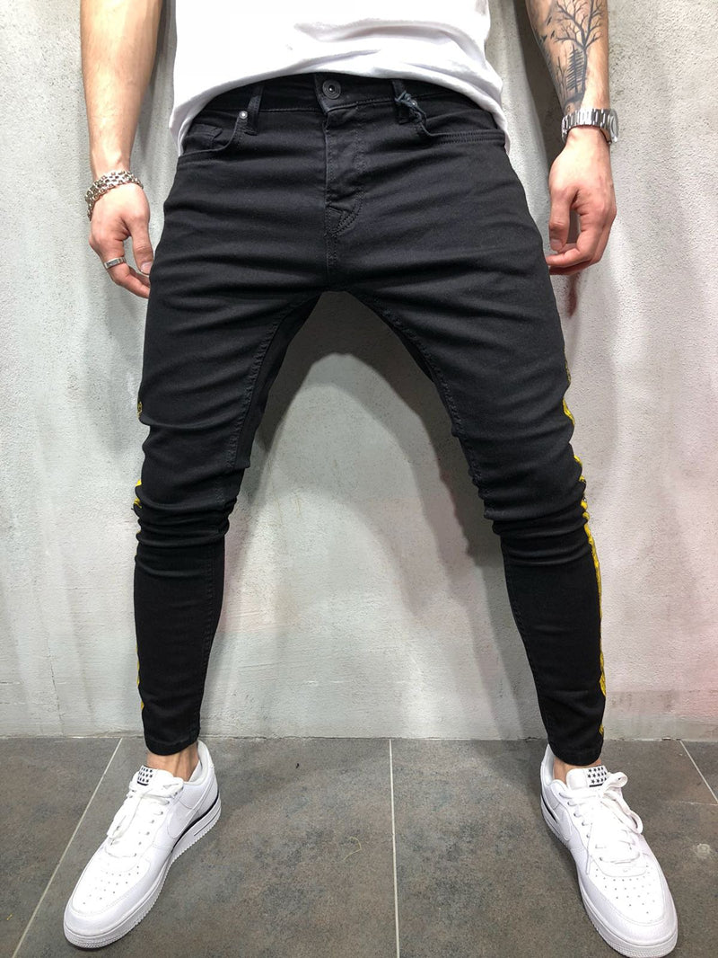 Black Skinny Side Stripe Paint Print Jeans
