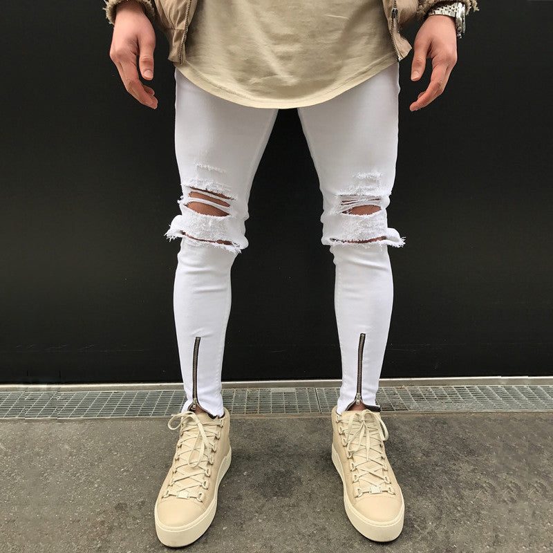 White Skinny Knee Ripped Ankle Zipper Jeans