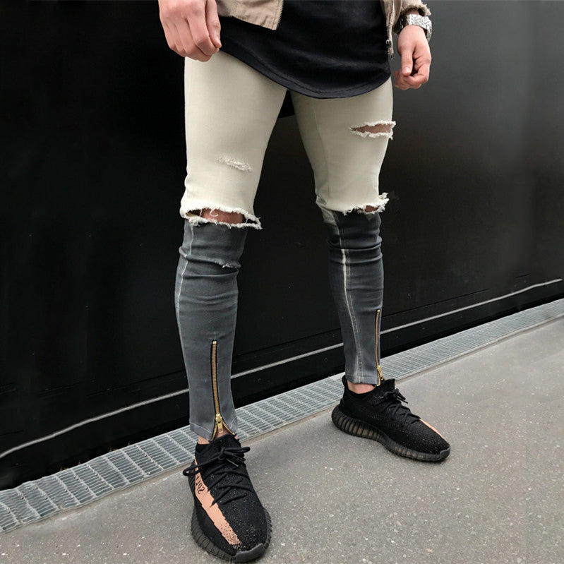 Dual Tone Skinny Ripped Ankle Zipper Jeans