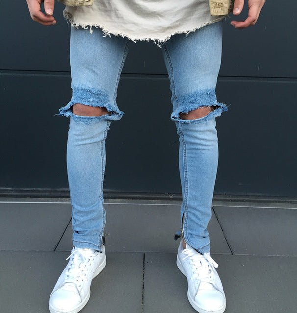 Light Blue Skinny Knee Ripped Ankle Zipper Jeans