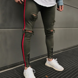 Green Skinny Ripped Side Stripe/Ankle Zipper Jeans