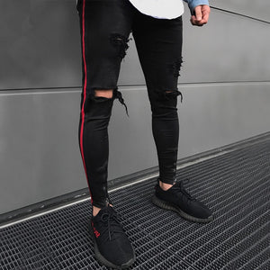 Black Skinny Ripped Side Stripe/Ankle Zipper Jeans