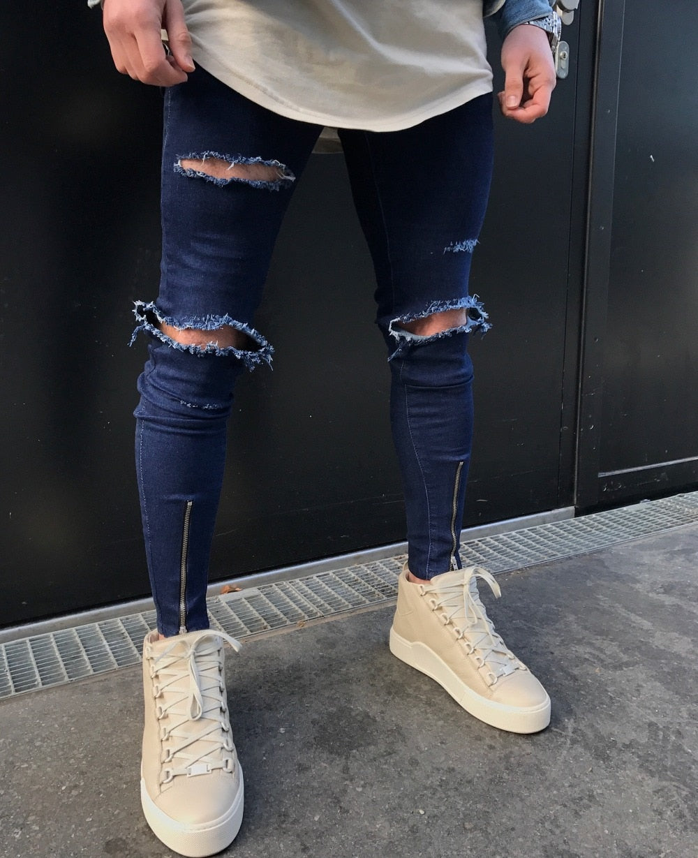 Blue Skinny Knee Ripped Ankle Zipper Jeans