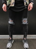 Black Skinny Faded Ripped Ankle Zipper Jeans