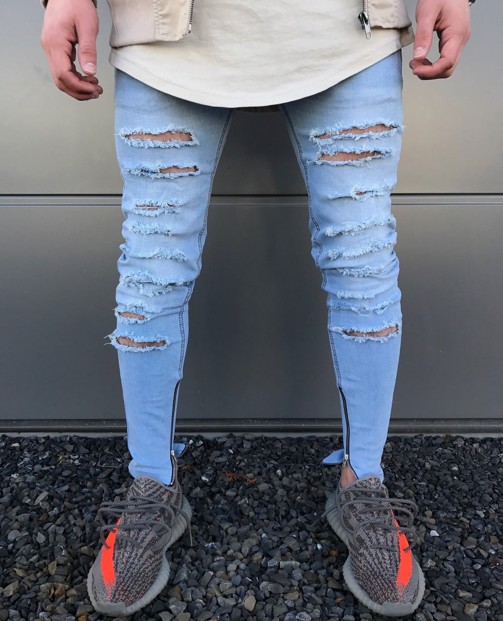 Light Blue Skinny Multi Ripped Ankle Zipper Jeans