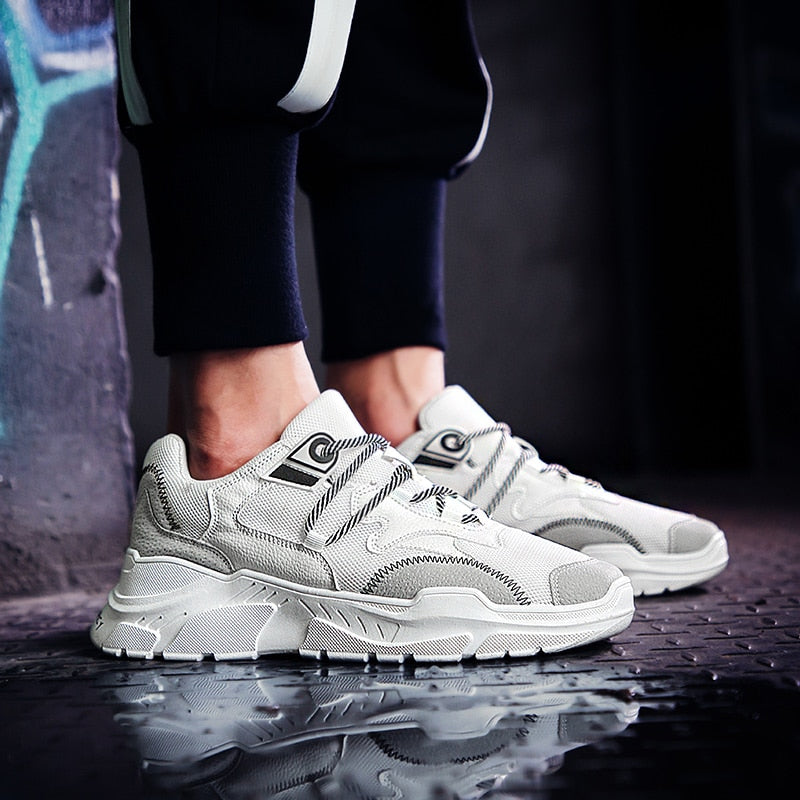 MERCY RX97 Chunky Leather/Mesh Sneakers - White