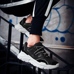 MERCY RX97 Chunky Leather/Mesh Sneakers - Black
