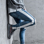 Distressed Knee Ripped Side Stripe Ankle Zipper Jeans