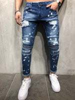 Blue Distressed Paint Detail Skinny Ripped Jeans