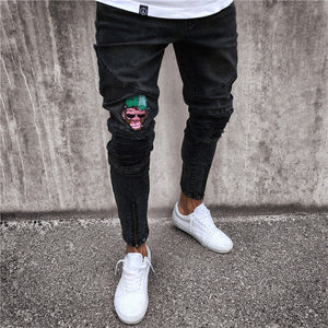 Black Embroidered Skinny Ankle Zipper Jeans