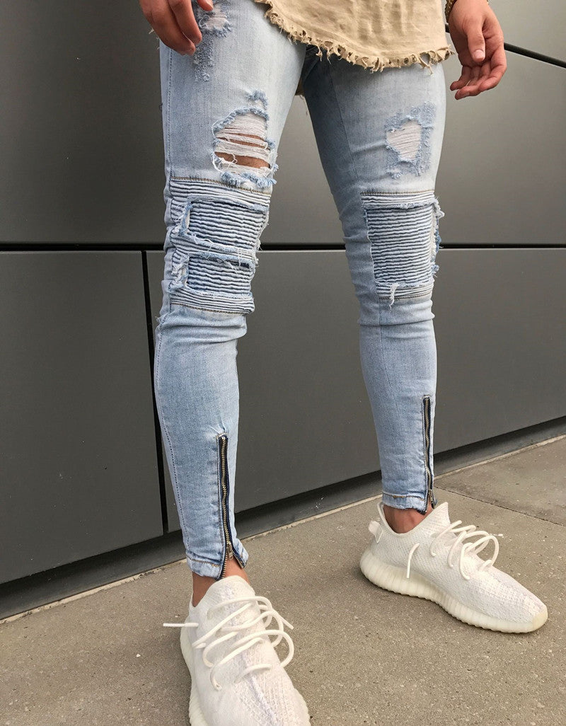 Premium Light Blue Destroyed Ripped Ankle Zipper Jeans