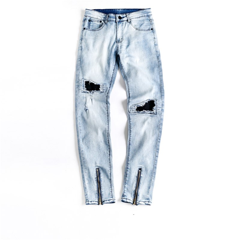 Light Blue Stone Wash Skinny Ankle Zipper Jeans