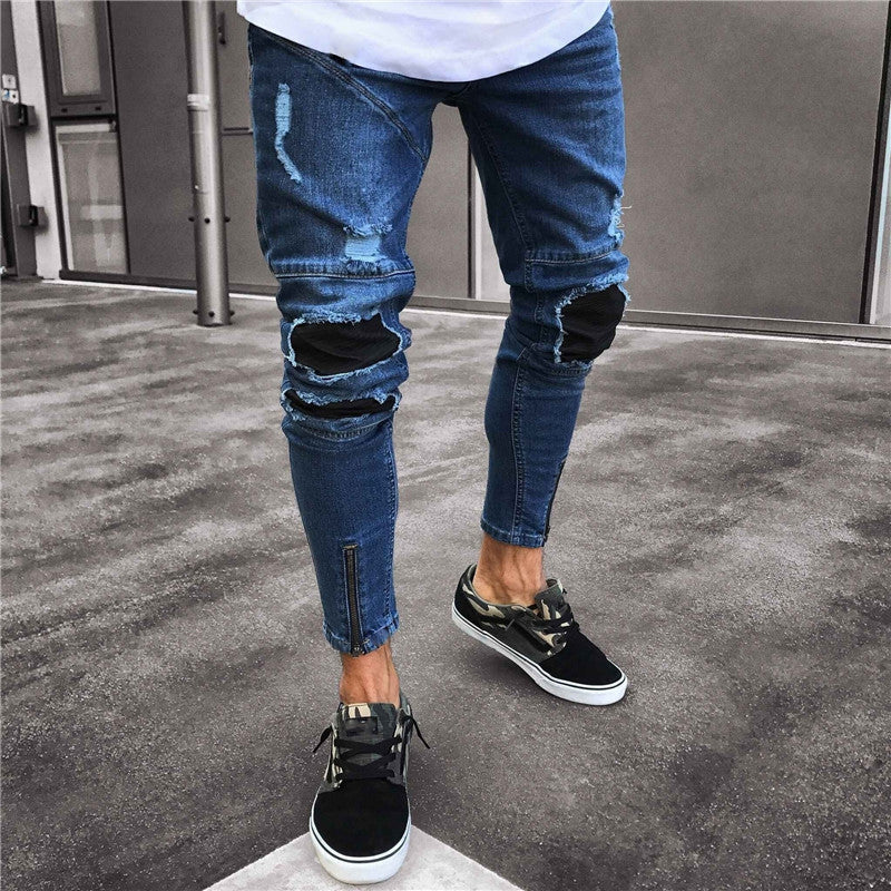 Dark Blue Skinny Tapered Ankle Zipper Jeans