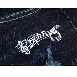 Skinny Ripped Musical Notes Tapered Jeans - Dark Blue