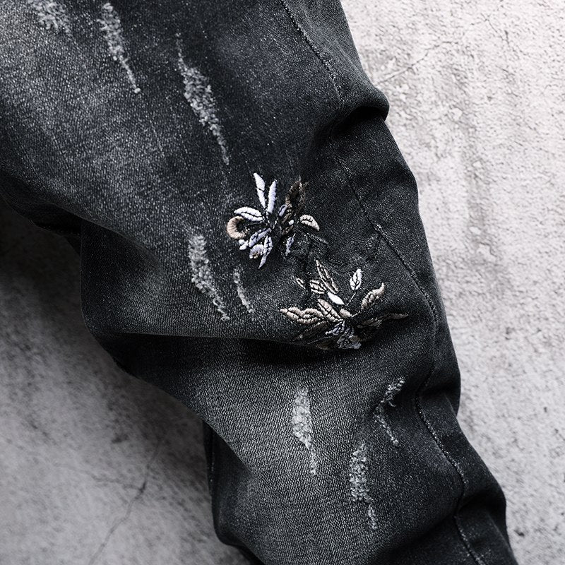 Skinny Flower Embroidered Tapered Jeans - Dark Grey
