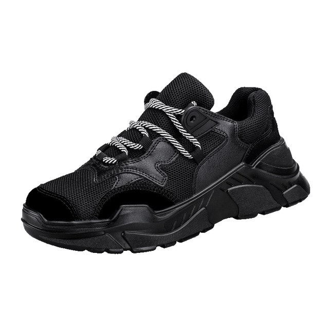 MERCY RX97 Chunky Leather/Mesh Sneakers - Triple Black