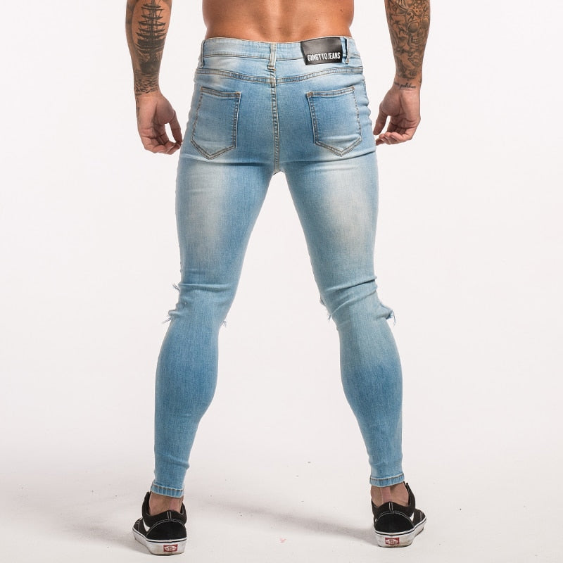 3715 Light Blue Repaired Knee Out Skinny Jeans