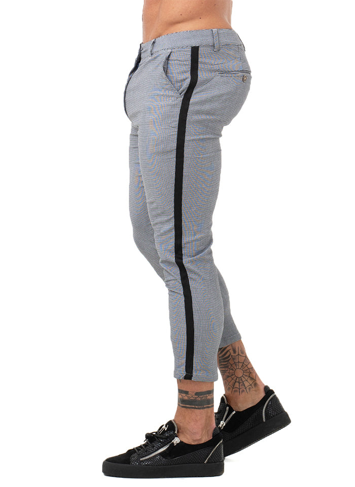 7354 Grey Skinny Side Stripe Chinos