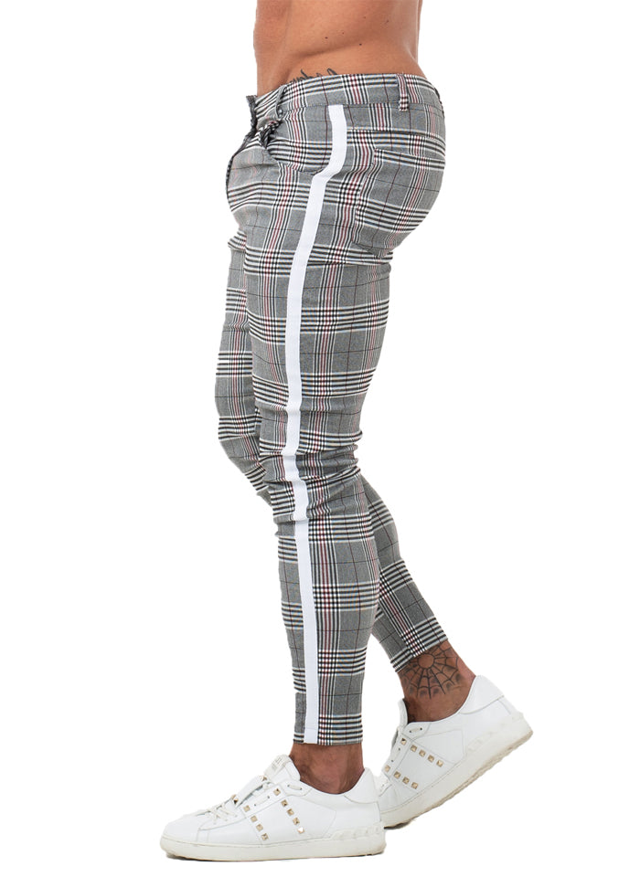 7355 Plaid Pattern Side Stripe Skinny Chinos
