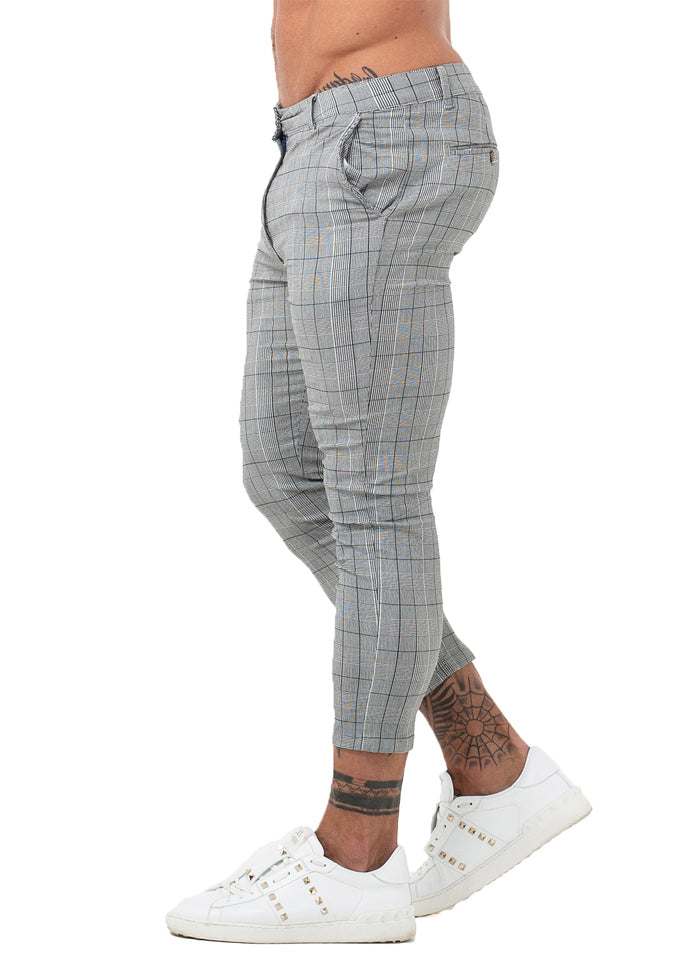 7356 Grey Plaid Pattern Skinny Chinos