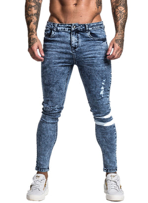 3749 Stonewashed Blue Knee Band Skinny Spray On Jeans