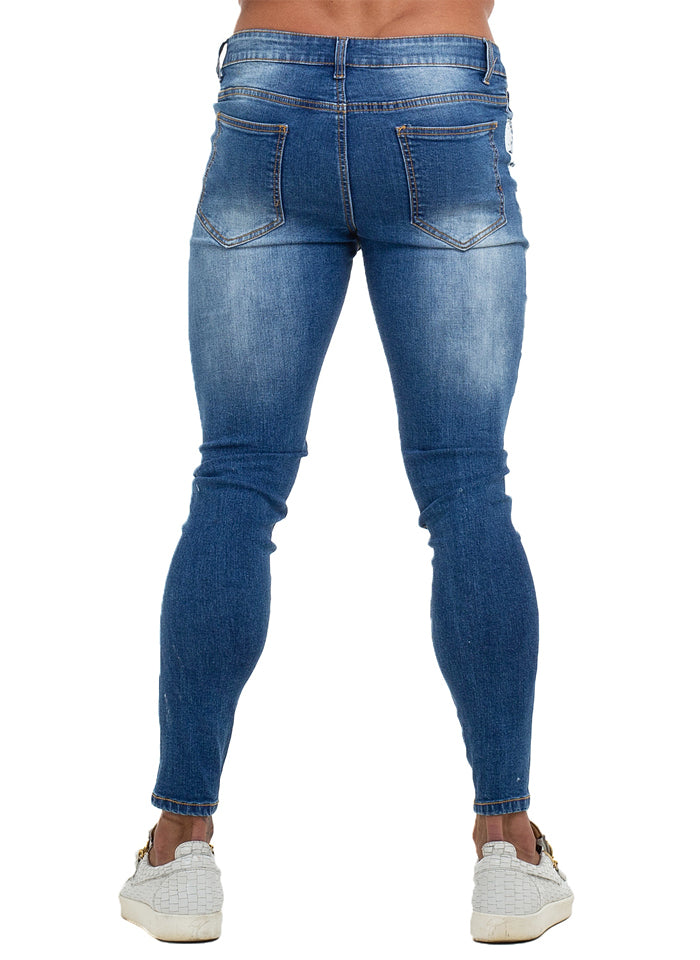 3754 Brush Side Stripe Ripped Skinny Stretch Jeans