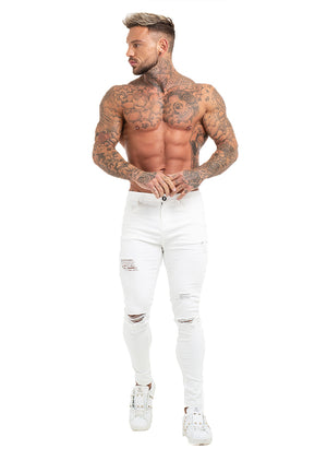3756 White Distressed & Ripped Skinny Stretch Jeans