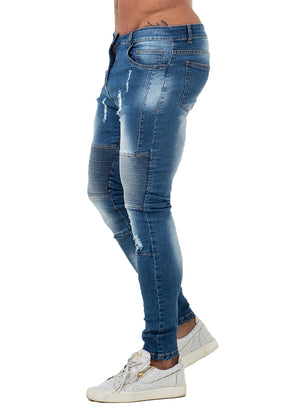 3759 Faded Blue Pleated Skinny Stretch Jeans