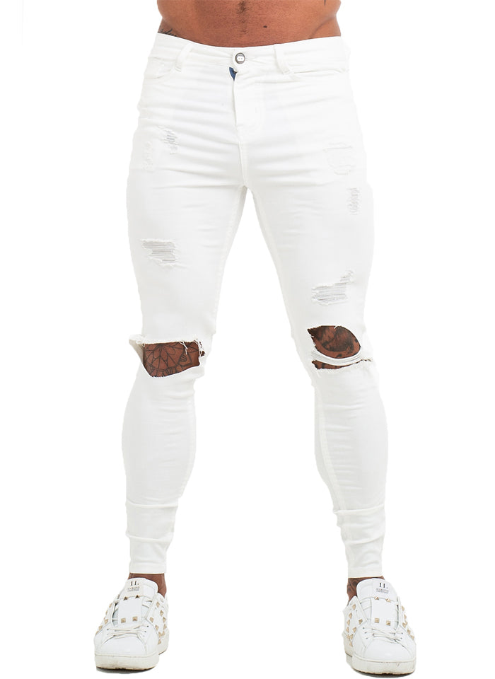 3760 White Distressed Knee Out Skinny Stretch Jeans