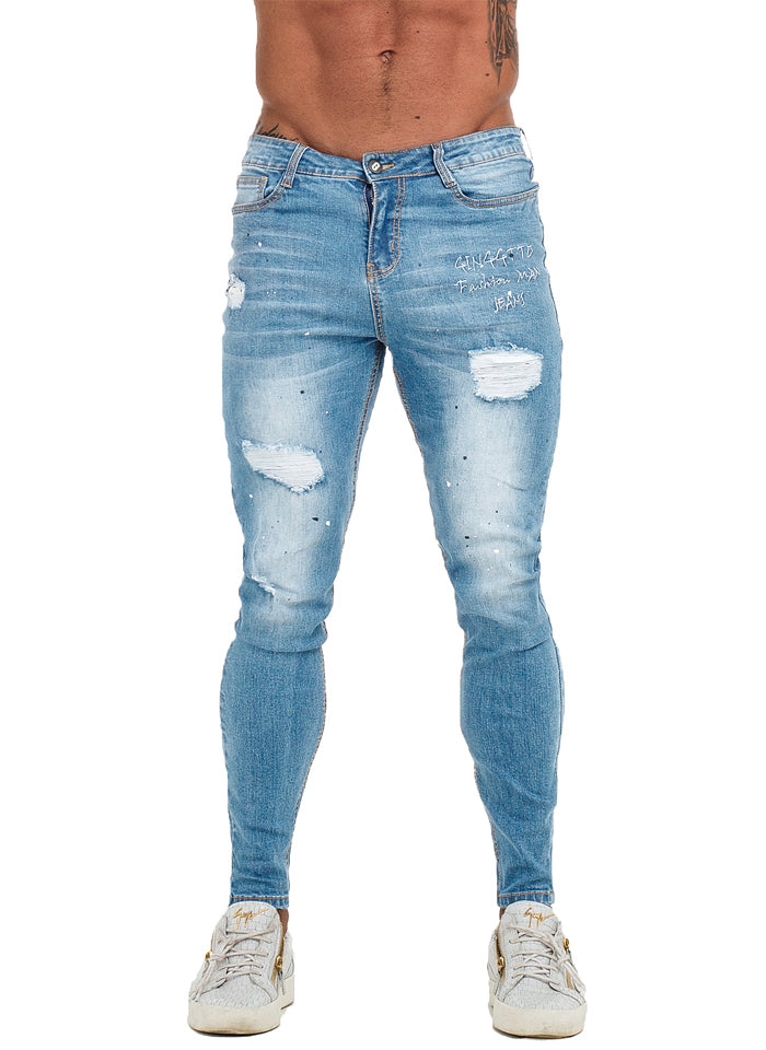 3762 Faded Light Blue Ripped Skinny Stretch Jeans