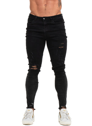 3766 Distressed & Frayed Black Skinny Stretch Jeans