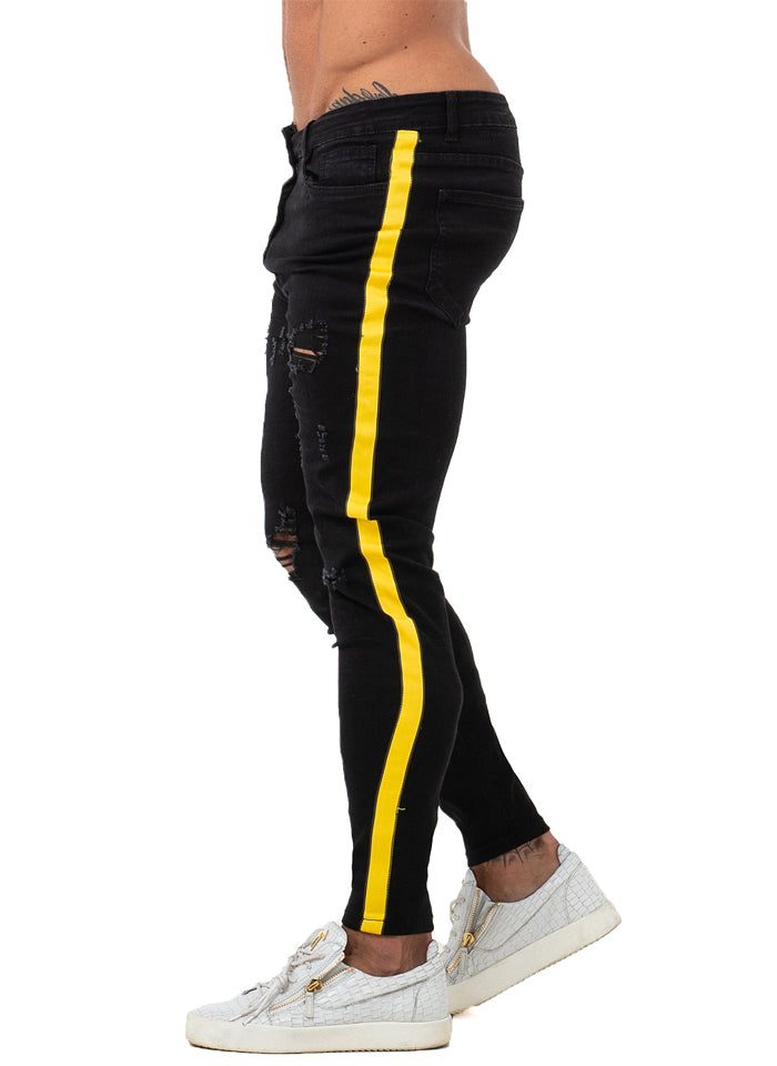 3768 Black Ripped Side Stripe Skinny Stretch Jeans