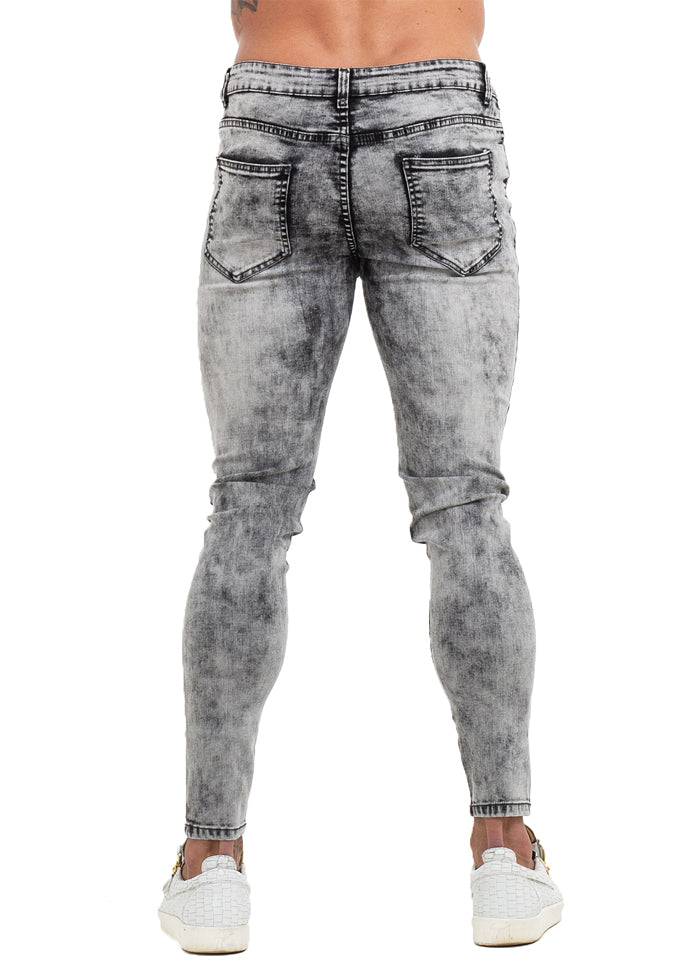 3770 Grey Distressed & Ripped Skinny Stretch Jeans