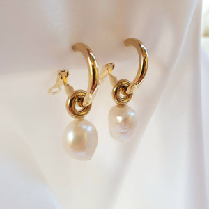 Stainless Steel Gold Hoop Earrings with Suspended Irregular Pearls