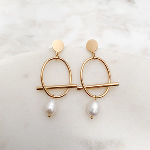 Oval Stainless Steel Suspended Pearl Earrings