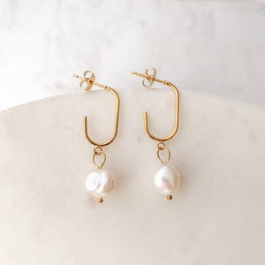 Paper Clip Irregular Pearl Gold Stainless Steel Earrings