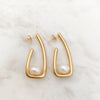 Hook Irregular Pearl Gold Stainless Steel Earrings