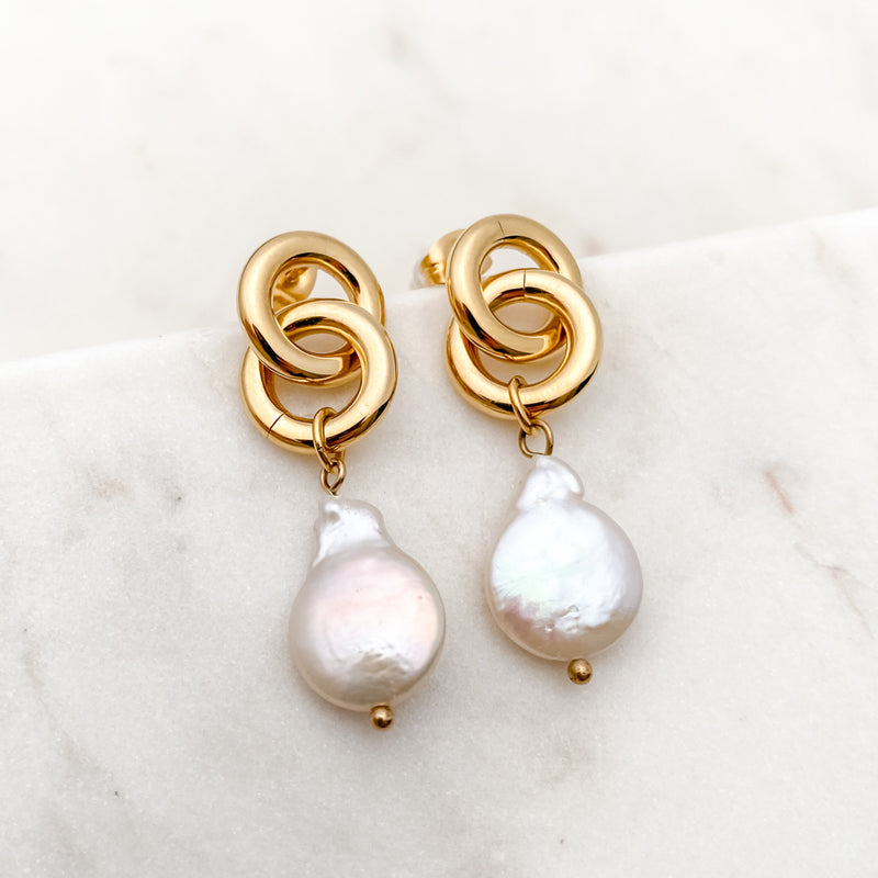 Mother of Pearl Tear Drop Gold Stainless Steel Earrings
