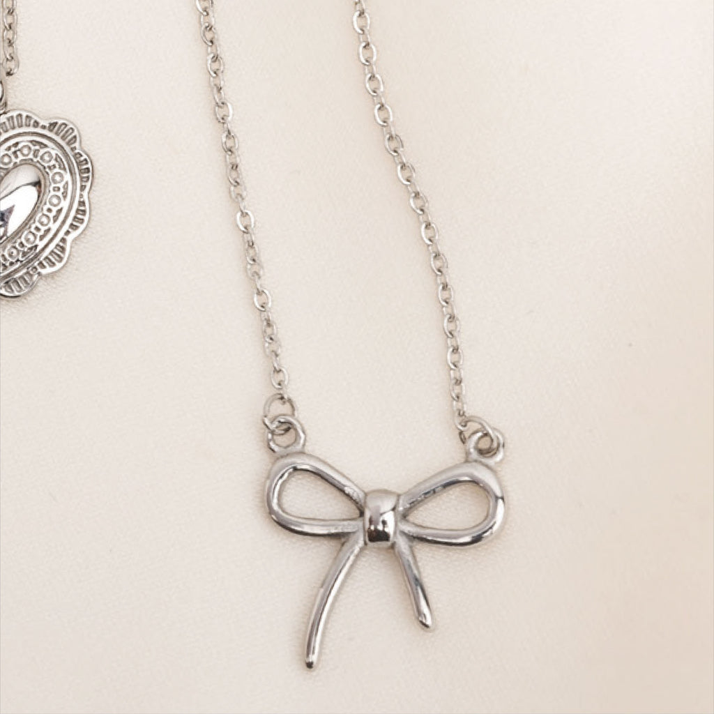 Silver Bow Necklace, Stainless Steel