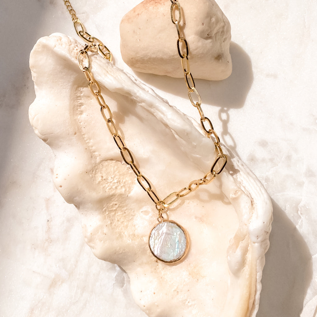 Mother of Pearl Chain Necklace, Gold Stainless Steel