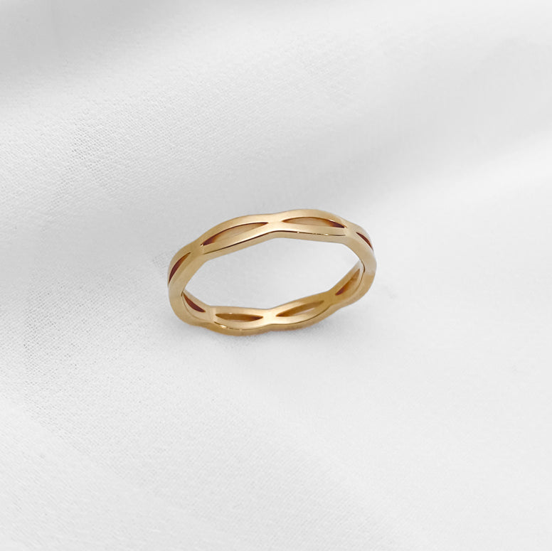 Gold Ripple Stainless Steel Ring