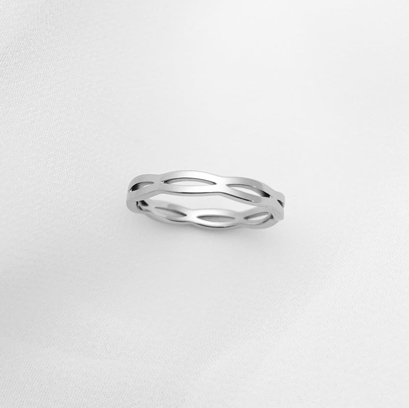 Silver Ripple Stainless Steel Ring