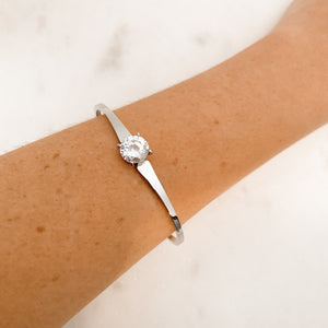 Elegant Stainless Steel Crystal Bangle