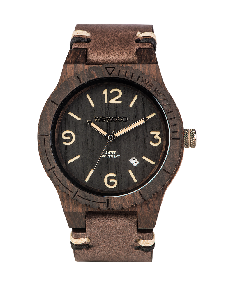 Alpha Swiss Black Rough Wood WeWood Watch