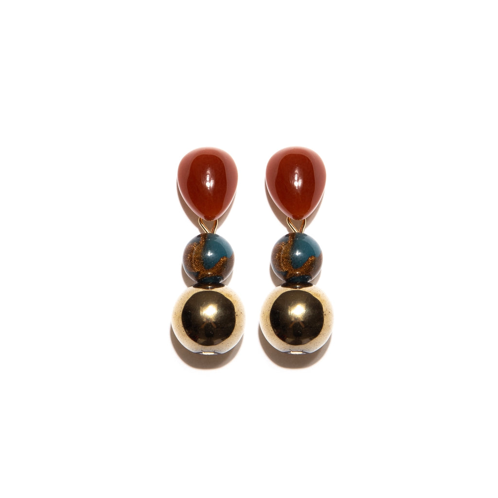 Brown Agate Droplet Earrings with Nepal Beads and Hematite Stones, Gold-Plated Medium Length Earring